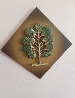 Vintage Mid-Century Sculpted Syroco Conifer Tree Wall Decor Plaque