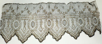 """Antique Vintage Mourning Funeral Gold Metallic Black Chantilly Lace Wide 6"""" X 14"""