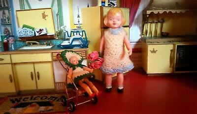 "1950s Dolls Vintage Doll 1:12 Hard Plastic Doll 4.5"" & Miniature Stroller 3pc"