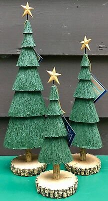 Williraye Studio Christmas Trees Set of 3 Christmas Village Accessories NIB