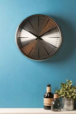 Retro Wall Clock Metal Chrome Silver Glass Polished Battery Operated Vintage