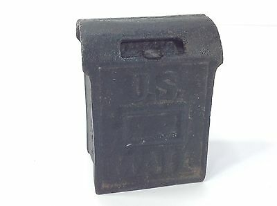 Vintage US Mail Mini Toy Bank Cast Iron Green Coin Slot