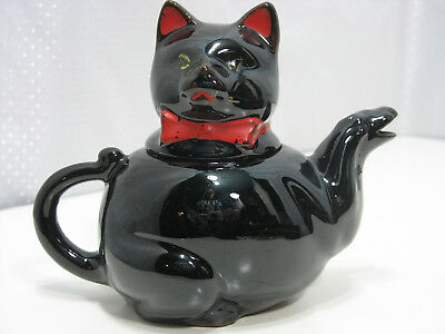 Redware Black Cat Tea Pot Shafford Handpainted Japan Vintage 1950's Small AS IS