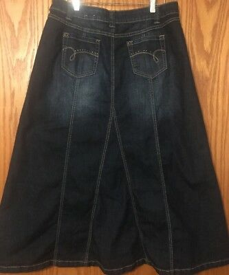 6376e650a5 Long Modest Denim Jean Skirt!Maurices Style! Dark Wash!No Slits!Flared
