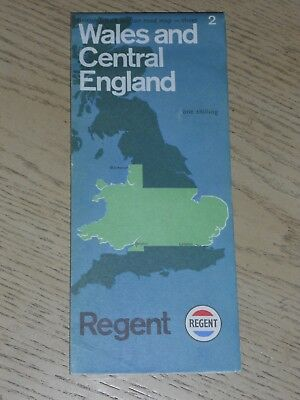 RARE 1960s Regent Oil Gas Wales & Central England 2 Of 5 Road Map Texaco Caltex
