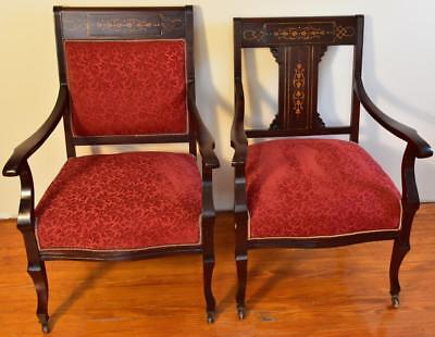 1910s Pair of Antique English Edwardian Mahogany Inlaid armchairs New Upholstery