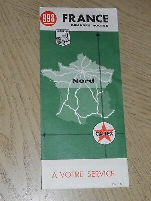 RARE 1967 Caltex Oil Gas Northern France Highway Road Map Michelin Texaco Nord