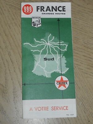 RARE 1967 Caltex Oil Gas Southern France Highway Road Map Michelin Texaco Sud