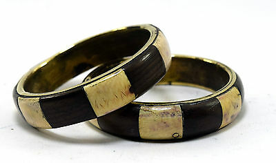 Beautiful Collective Pair Of Brass Base Bangle Made Of Wood & Ivr Inlay.i8-42 AU