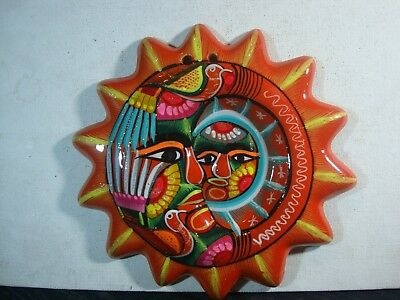 Eclipse sun  decor Mexican folk art made of clay and hand painted,