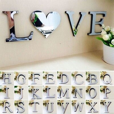 26 English Letters 3D Mirror Wall Stickers Kids Room DIY Art Decal Home Decor