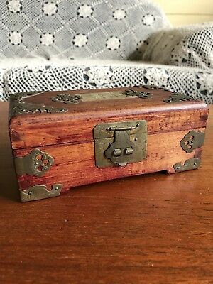 Vintage Chinese Wooden Jewellery Box With Greenstone Decoration To Lid