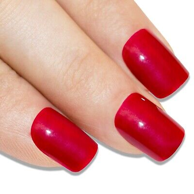 Bling Art False Nails French Manicure Red Fire me Up Full Cover Medium Tips UK
