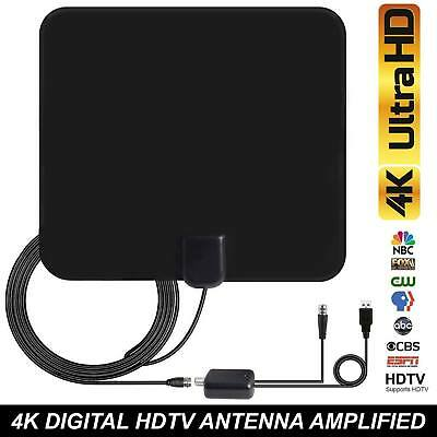 80 Mile HDTV Indoor Antenna Aerial HD Digital TV Signal Amplified Booster +Cable