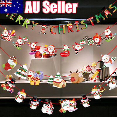 Merry Christmas Banner Santa Claus Flags Hanging Party Xmas Decoration Bunting