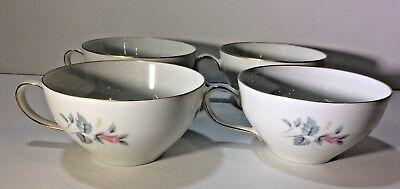 FEIN BAYREUTH SOPHIENTHAL Gray& Pink Rose Floral Gold Rim Set of 4 Cup Germany