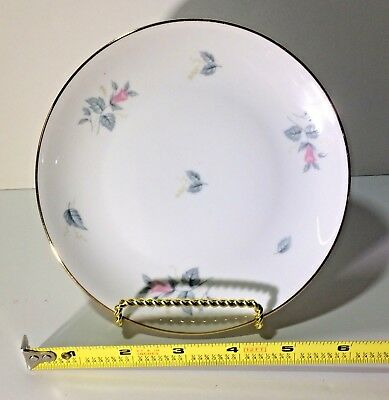 FEIN BAYREUTH SOPHIENTHAL Gray& Pink Floral Gold Rim Bread and Butter Germany