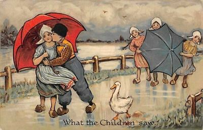 """What the Children Saw"" Goose, Dutch Costumes, Couple, Umbrellas"
