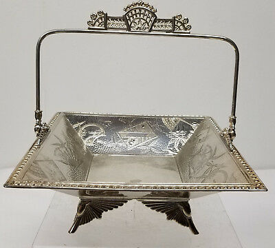 Antique Aesthetic Movement Silverplate Candy Dish Basket Hartford Handled Bowl