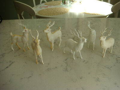 **6** VINTAGE CELLULOID WHITE PLASTIC Reindeer W ANTLERS *3 ORNAMENTS & 3 OTHERS