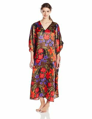 Cinema Etoile Women's Printed Satin Caftan with Border Side Panels Red One Size