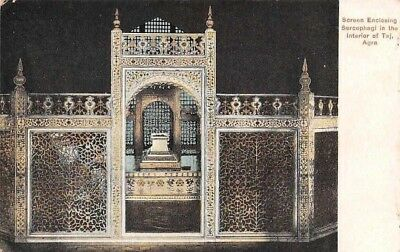 India Agra Screen Enclosing Sarcophagi in the Interior of Taj