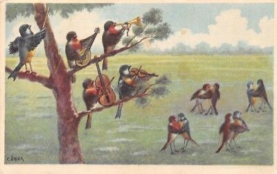 Humanized Barn Swallow Birds Orchestra Music Concert Dance, C. Onier Signed 1925