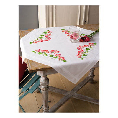 Embroidery Kit Tablecloth Geraniums Design Stitched on Cotton Fabric  80 x 80cm