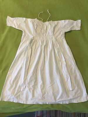 Vintage Baby / Doll Gown Dress Robe Cotton & Broderie Anglaise Christening