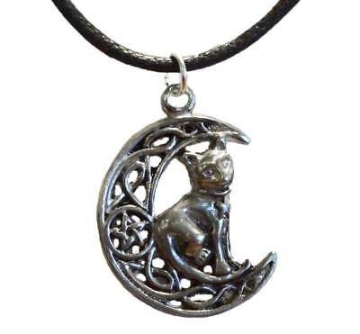 NEW Celtic Moon & Cat Pentacle Amulet Pagan Pendant Charm w/ Cord USA