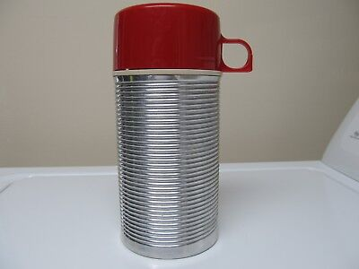 Vintage Red Cap Metal Thermos Brand Thermos 8 oz Bottle #2884 USA Glass Lined
