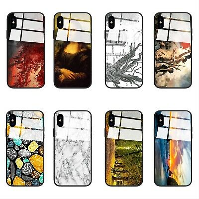 Luxury Stylish Marble Hard Cover TPU+Tempered Glass Phone Case For iPhone