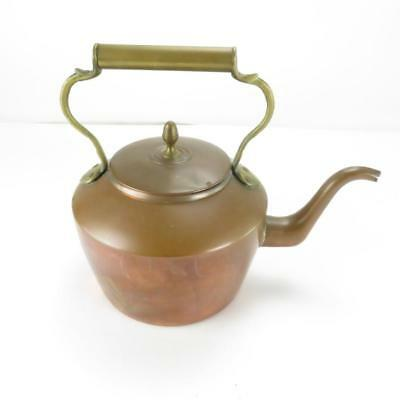 Large Vintage Copper Plated Kettle / Teapot with Brass Handle - Size 32 x 29cm