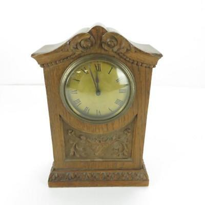 Vintage Wooden Mantle Clock - Hand Carved Decoration - Working Condition - 24cm