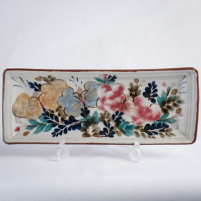 """Highland Stoneware Hand Painted Large Rectangle Dish Traditional Floral 15.25"""""""