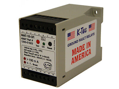 K-Tec AMAT-100-GFI Ground Fault Residual Current Relay 24V AC/DC New in Box
