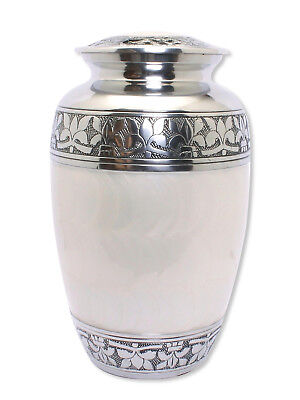 Adult Cremation Urn for Ashes, Large Pearl White and Silver Funeral Memorial urn