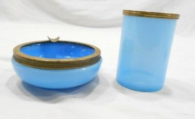 Vintage Blue Slag Glass, Ashtray And Cigarette Holder, Brass Ring
