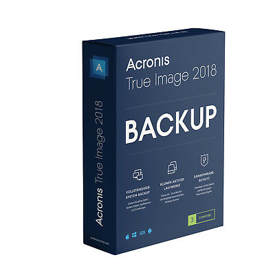 Acronis True Image 2018* 3-Gerät -  Backup - Windows / MAC  -  Box