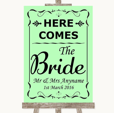 Wedding Sign Poster Print Green Here Comes Bride Aisle Sign