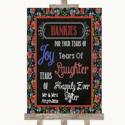 Wedding Sign Poster Print Floral Chalk Hankies And Tissues