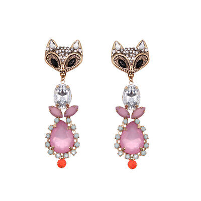 FREEDOM TOPSHOP PINK CLEAR STONES ANTIQUATED GOLD FOX  EARRINGS NEW