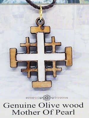 """Holy Land Olive Wood Mother Of Pearl Cross Necklace Bethlehem Made 1.5"""" Grid"""