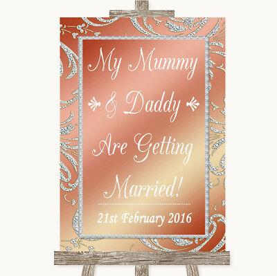 Wedding Sign Poster Print Coral Pink Mummy Daddy Getting Married