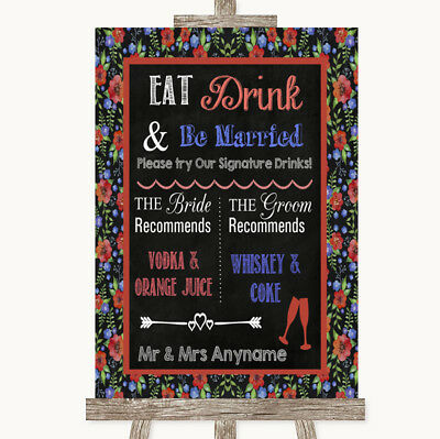 Wedding Sign Poster Print Floral Chalk Signature Favourite Drinks