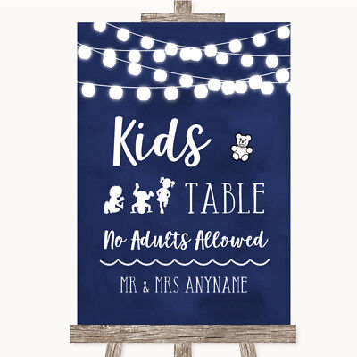 Wedding Sign Poster Print Navy Blue Watercolour Lights Kids Table
