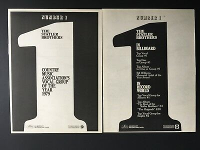 """Statler Brothers 1979 Original 14X22"""" Country's Vocal Group Of The Year"""