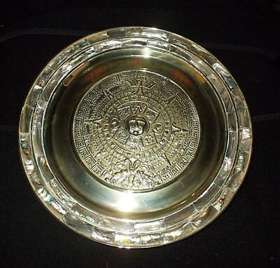 """Aztec Calendar Mother of Pearl Silver Decorative Plate 11"""""""