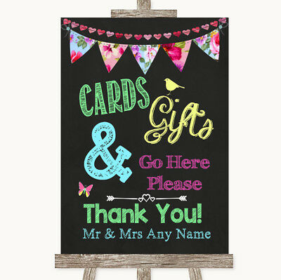 Wedding Sign Poster Print Bright Bunting Chalk Cards & Gifts Table