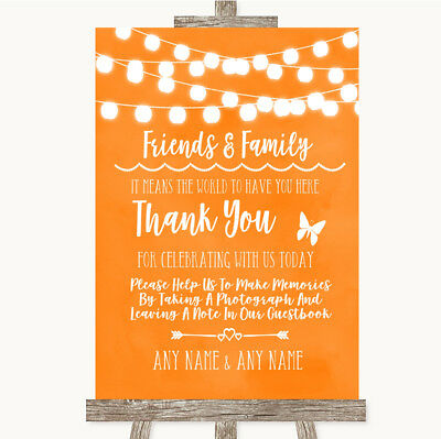 Wedding Sign Orange Watercolour Lights Photo Guestbook Friends & Family